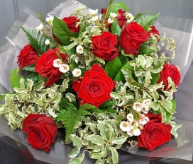 12 Red Roses Handtied Bouquet