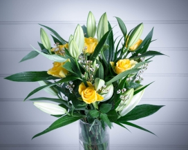 White Lily, Waxflower and Yellow Rose