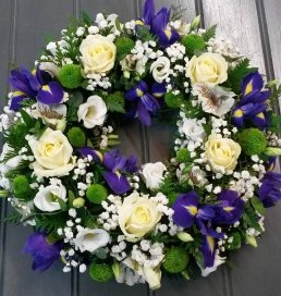 Iris & White Rose Wreath